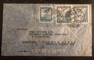 1940 Valparaiso Chile Commercial Airmail Cover To Buenos Aires Argentos