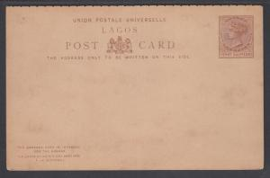 Lagos H&G 3a mint 1887 1½p Postal Reply Double Card