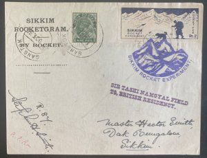 1935 Gangtok India Sikkim Rocket Experiment Flight Sheet cover 200 Carried