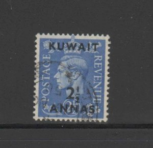 KUWAIT #76  1948  2 1/2a on 2 1/2p  KING GEORGE VI SURCHARGED   F-VF  USED  e