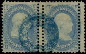 #63 VAR. 1¢ FRANKLIN HORIZONTAL PAIR WITH DOUBLE PERF ERROR BP8685