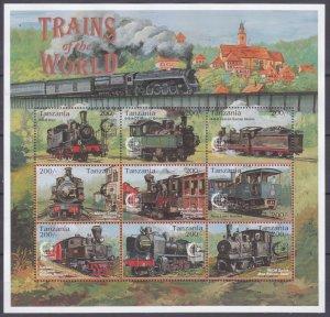 1995 Tanzania 2064-2072KL Locomotives 8,00 €