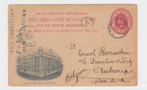 CAPE OF GOOD HOPE TO BELGIUM 1903 GENERAL POST OFFICE 1d CARD H&G#15a(SEE BELO
