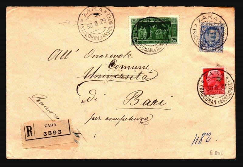 Italy 1929 Zara Registered Cover to Bari - Z17863