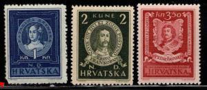 Croatia Scott 56-58 MNH** 1943 set one rouned corner