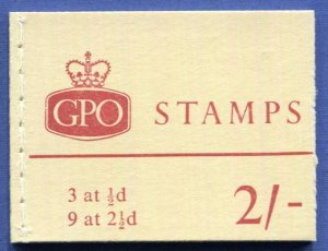 GB QEII Complete 2sh Booklet, 3 at 1/2d and none at 2 1/2d MNH