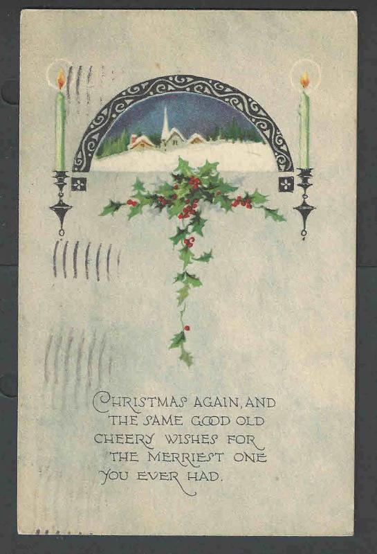 1924 PPC* Xmas Seal #WX32 On Back Of Xmas Card Untied