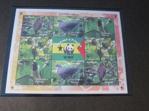 St. Thomas & Prince Islands 2005 WWF Bird set MNH