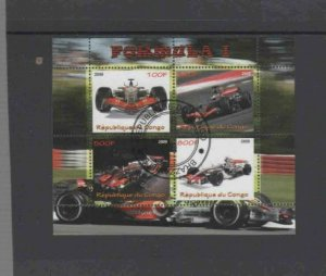 CONGO PEOPLES 2009 RACING CARS MINT VF NH O.G CTO S/S (2C)