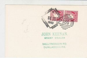 ireland dublin 1963 postal history special cancel stamps card ref 20344