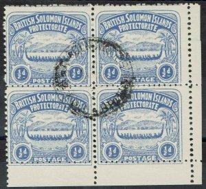 BRITISH SOLOMON ISLANDS 1907 LARGE CANOE 1/2D BLOCK USED