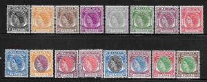 MALAYA- PENANG, 29-44, MINT HINGED, TYPES OF PENANG WITH QUEEN ELIZABETH