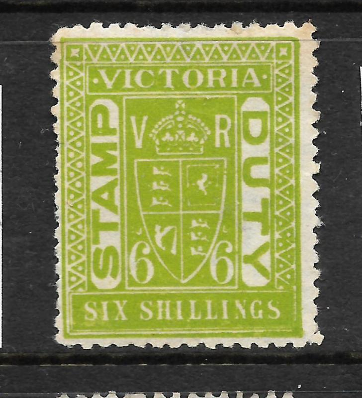 VICTORIA  1884-00   6/-    STAMP DUTY  MNG  P11