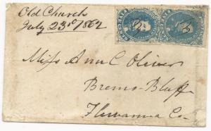 CSA Scott #4 Stone 2 & 3 (Pos 31) on Cover Unusual Old Church, VA July 23, 1862
