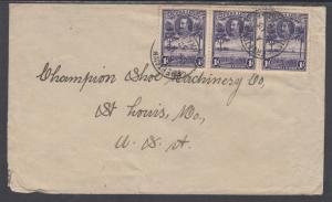 Sierra Leone Sc 141 strip of 3 on 1932 cover, Freetown to St. Louis