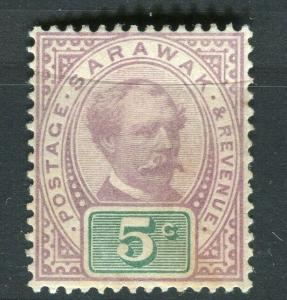 SARAWAK; 1888 early C. Brooke issue fine Mint hinged 5c. value