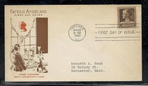 US #878-4 Addams Fidelity cachet addressed