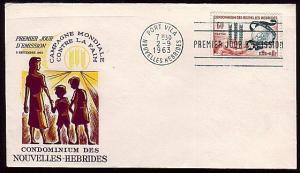 NEW HEBRIDES (French) 1963 Freedom From Hunger commem FDC..........36520