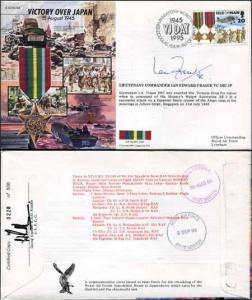 JS45/16BC Victory in Europe sign Lieutenant Commander Ian Edward Fraser VC (R)