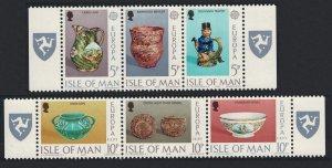 Isle of Man Europa Ceramic Art 6v in strips with Logo 1976 MNH SC#86-91