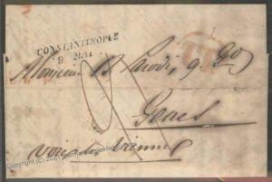 Turkey 1844 Constantinople Genes Vienne France Disinfected Cholera Pest C 102384
