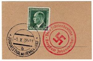 (I.B) Czechoslovakia Postal : Sudetenland Cancel (1938)