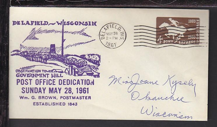 Delafield,WI US PO Dedication 1961 Cover