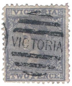 (I.B) Australia - Victoria Postal : 2d Violet (SG 109ac)