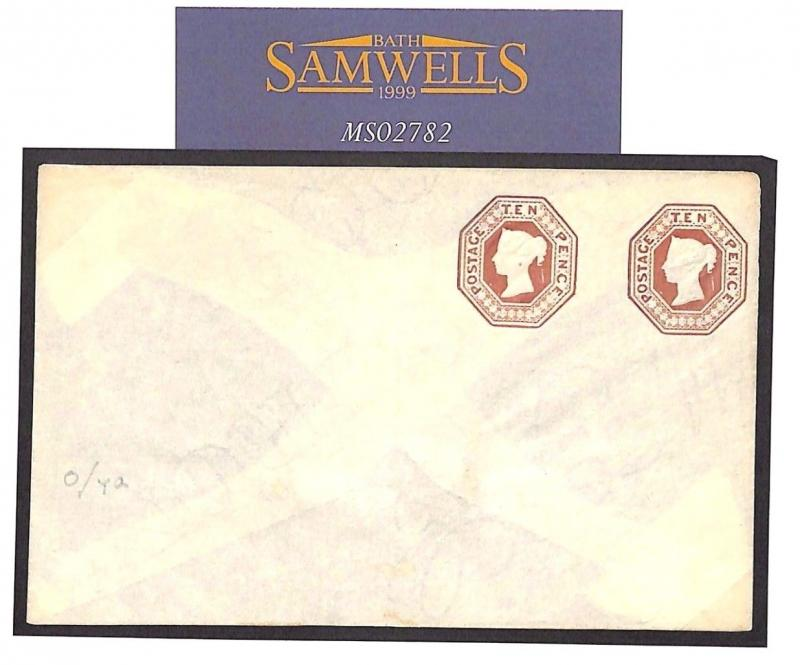 MS2782 Great Britain Cover 1890s QV 10d EMBOSSED Compound STO Postal Stationery