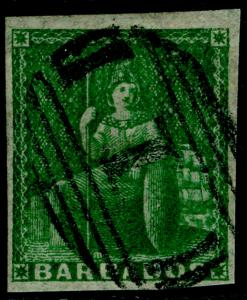 BARBADOS SG8, (½d) green, FINE USED. Cat £200.