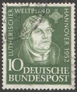 GERMANY 1952 Sc 689  10pf  Martin Luther, Used, VF