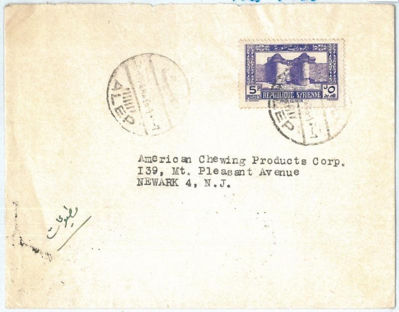 71155 - SYRIA - POSTAL HISTORY -  COVER  to  United States 1945