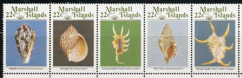 Marshall Islands 156a 1987 Shells Strip MNH