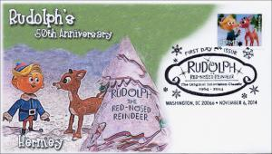 2014, Rudolph theRed-nosed Reindeer,  B/W Pictorial FDC, Hermey, 14-214