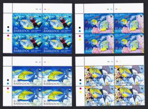 Barbados WWF Queen Triggerfish Diving 4v Top Left Corner Blocks of 4