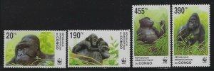 Zaire 2002 WWF Gorillas set Sc# 1638-41 NH