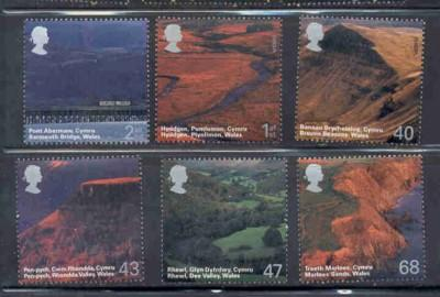 Great Britain Sc 2215-20 2004 Wales Scenery stamp set mint NH
