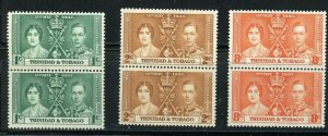 TRINIDAD & TOBAGO CORONATION OF GEORGE VI 1937 SC# 47-49 MINT NH PAIRS AS SHOWN