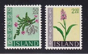 Iceland   #393-394   MNH   1968    flowers