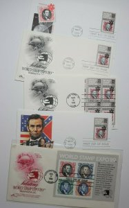 World Stamp Expo Abraham Lincoln 1989 Philatelic Cachet FDC 2433a-d 2410 SS