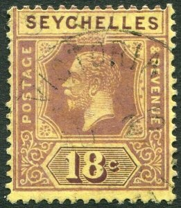 SEYCHELLES-1922 18c Purple/Pale Yellow Die II Sg 88c FINE USED V48887