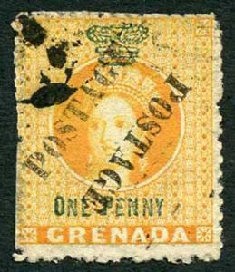 Grenada 1883 SG29a 1d orange Opt Postage Type 12 diagonally Unsevered Pair