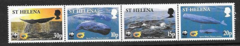 ST.HELENA SG872a 2002 SPERM WHALE STRIP MNH