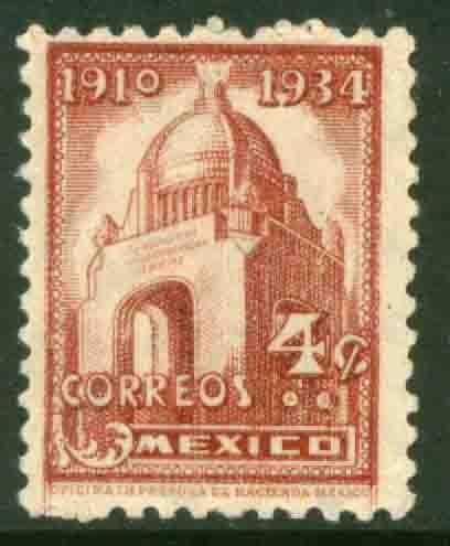MEXICO 709, 4¢ REVOLUTION MONUMENT 1934 DEFINITIVE SINGLE UNUSED, H OG. VF.