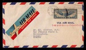 US Sc C24 Airmail Cover Stevens Hotel Chicago,ILLReverse Side VF To Sweden