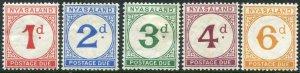 NYASALAND-1950 Postage Due Set.  A mounted mint set Sg D1-D5