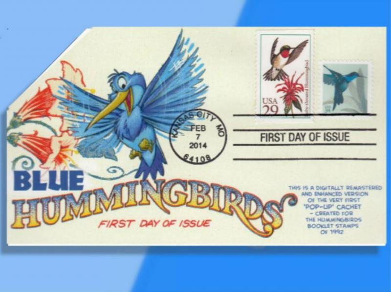 Little Blue Hummingbird Hovers on CACHETOONS Recycled Combo FDC!