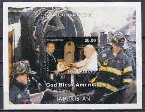 Tadjikistan, 2001 Russian Local. Pope John Paul II & N.Y. Fire Dept. s/sheet.