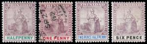 Trinidad Scott 74, 76, 79, 84 (1896-1904) Mint/Used H F-VF, CV $20.50