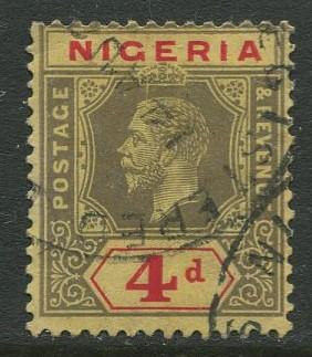 Nigeria -Scott 27a - KGV Definitive -1921 - Used - Single 4p Stamp